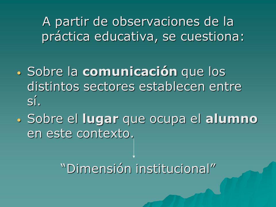 A partir de observaciones de la práctica educativa, se cuestiona: Sobre la comunicación que los distintos sectores establecen entre sí.