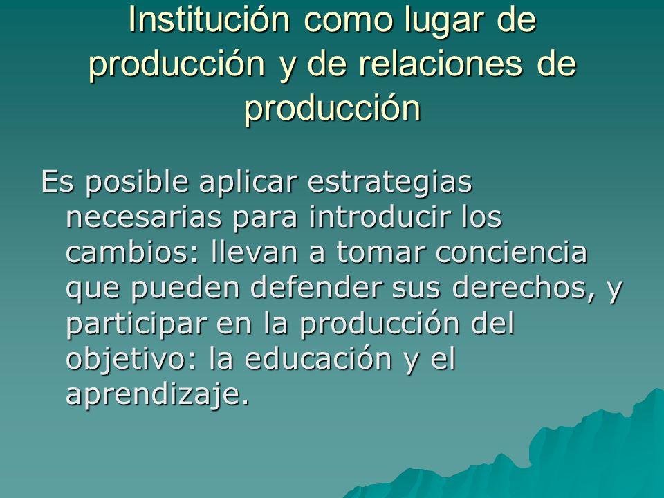 Institución como lugar de producción y de relaciones de producción Es posible aplicar estrategias necesarias para introducir los cambios: llevan a tomar conciencia que pueden defender sus derechos, y participar en la producción del objetivo: la educación y el aprendizaje.