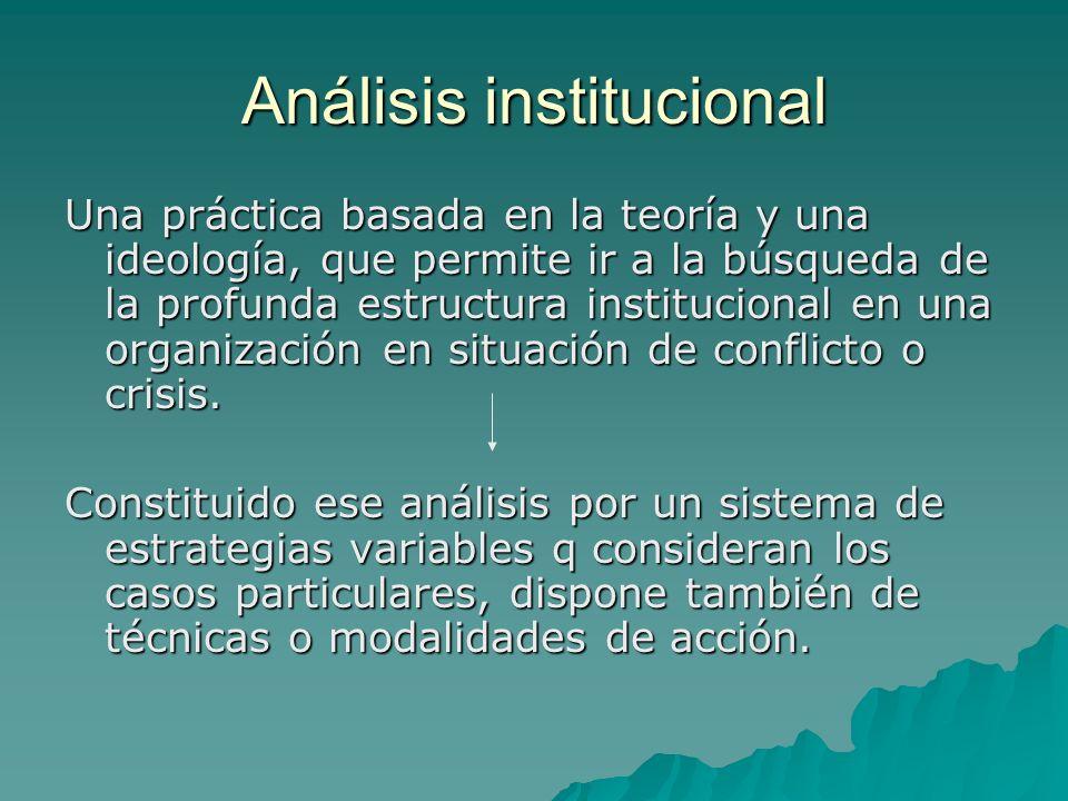 Análisis institucional Una práctica basada en la teoría y una ideología, que permite ir a la búsqueda de la profunda estructura institucional en una organización en situación de conflicto o crisis.