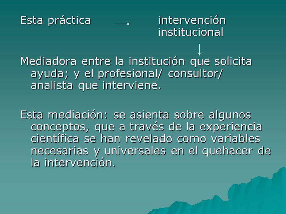 Esta práctica intervención institucional Mediadora entre la institución que solicita ayuda; y el profesional/ consultor/ analista que interviene.