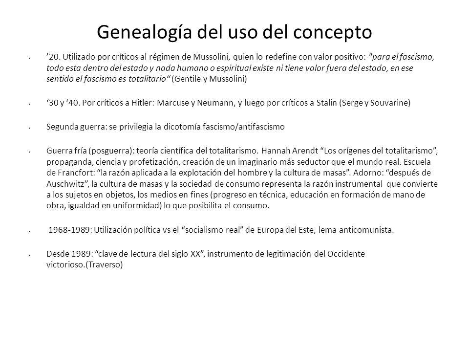 Genealogía del uso del concepto 20. Utilizado por críticos al régimen de Mussolini, quien lo redefine con valor positivo: