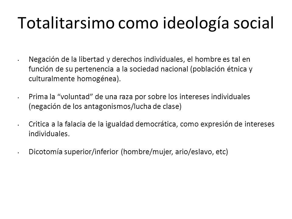Totalitarsimo como ideología social Negación de la libertad y derechos individuales, el hombre es tal en función de su pertenencia a la sociedad nacio