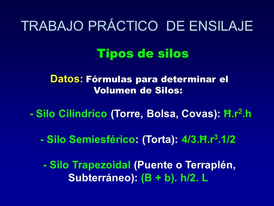 Datos: Fórmulas para determinar el Volumen de Silos: Ħ.r 2.h - Silo Cilíndrico (Torre, Bolsa, Covas): Ħ.r 2.h 4/3.Ħ.r 3.1/2 - Silo Semiesférico: (Tort