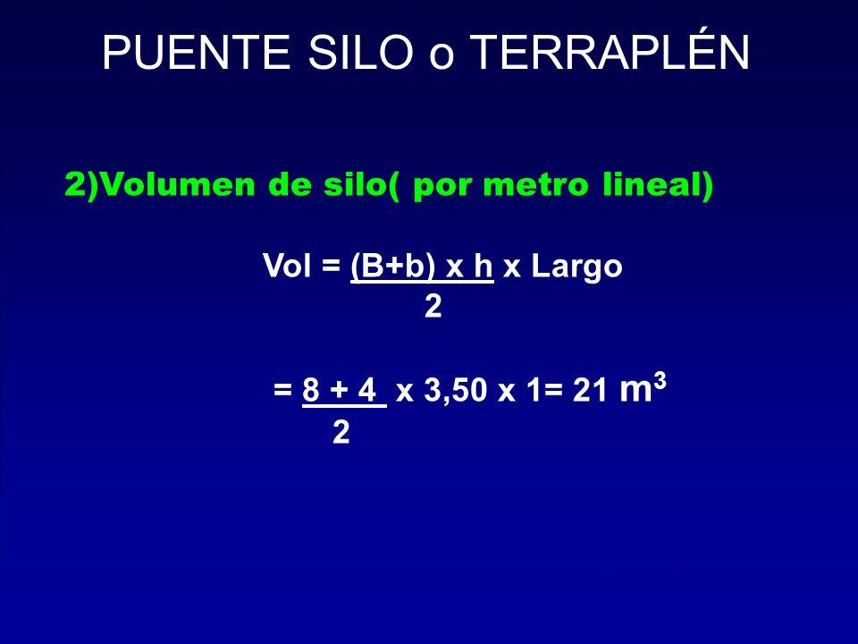 2)Volumen de silo( por metro lineal) Vol = (B+b) x h x Largo 2 = 8 + 4 x 3,50 x 1= 21 m 3 2 PUENTE SILO o TERRAPLÉN