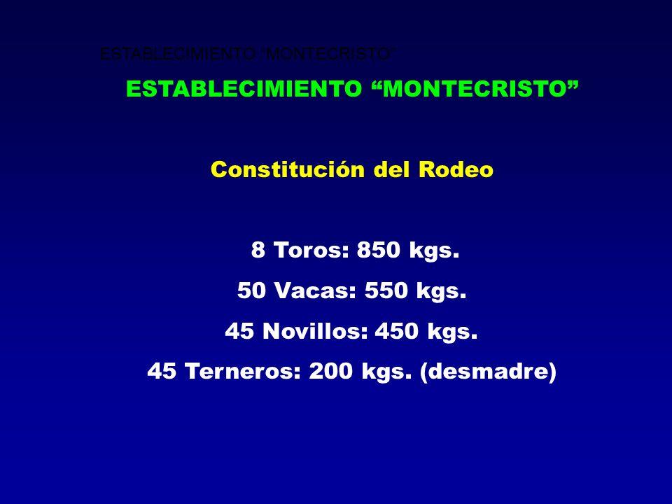 ESTABLECIMIENTO MONTECRISTO Constitución del Rodeo 8 Toros: 850 kgs. 50 Vacas: 550 kgs. 45 Novillos: 450 kgs. 45 Terneros: 200 kgs. (desmadre)