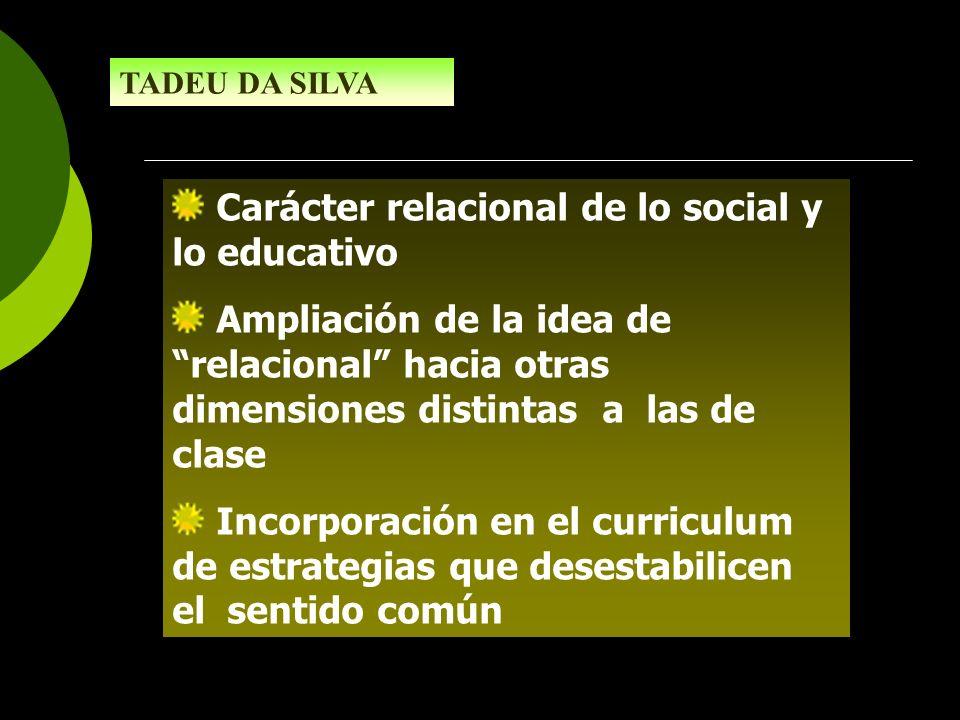 Carácter relacional de lo social y lo educativo Ampliación de la idea de relacional hacia otras dimensiones distintas a las de clase Incorporación en