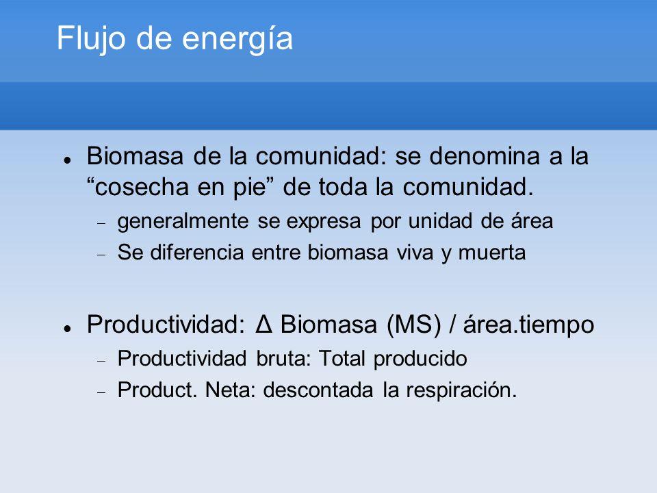 Flujo de energía Biomasa de la comunidad: se denomina a la cosecha en pie de toda la comunidad. generalmente se expresa por unidad de área Se diferenc