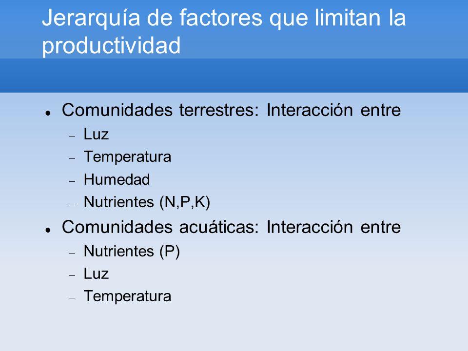 Jerarquía de factores que limitan la productividad Comunidades terrestres: Interacción entre Luz Temperatura Humedad Nutrientes (N,P,K) Comunidades ac
