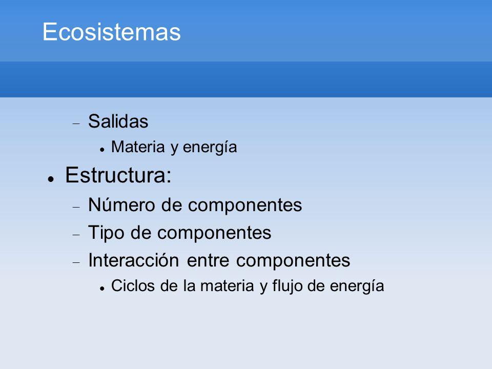 Ecosistemas Salidas Materia y energía Estructura: Número de componentes Tipo de componentes Interacción entre componentes Ciclos de la materia y flujo