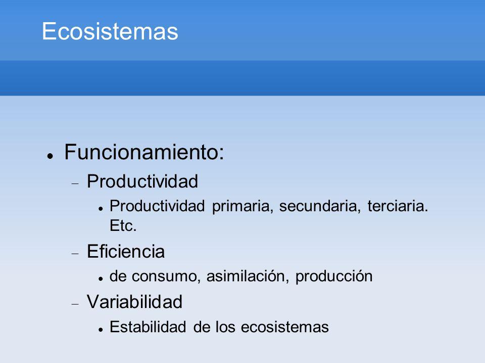 Ecosistemas Funcionamiento: Productividad Productividad primaria, secundaria, terciaria. Etc. Eficiencia de consumo, asimilación, producción Variabili