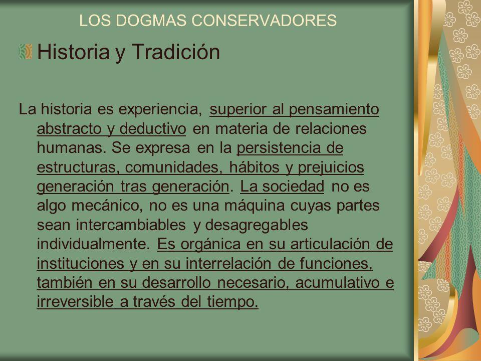 LOS DOGMAS CONSERVADORES Historia y Tradición La historia es experiencia, superior al pensamiento abstracto y deductivo en materia de relaciones human