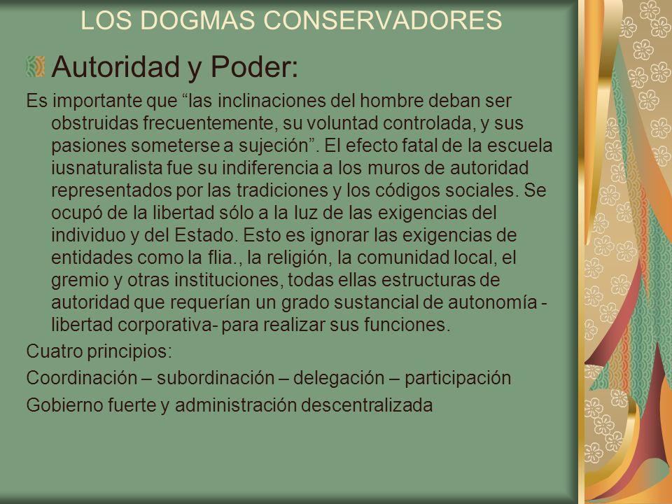 LOS DOGMAS CONSERVADORES Libertad e Igualdad: Incompatibilidad inherente y absoluta entre ambas.