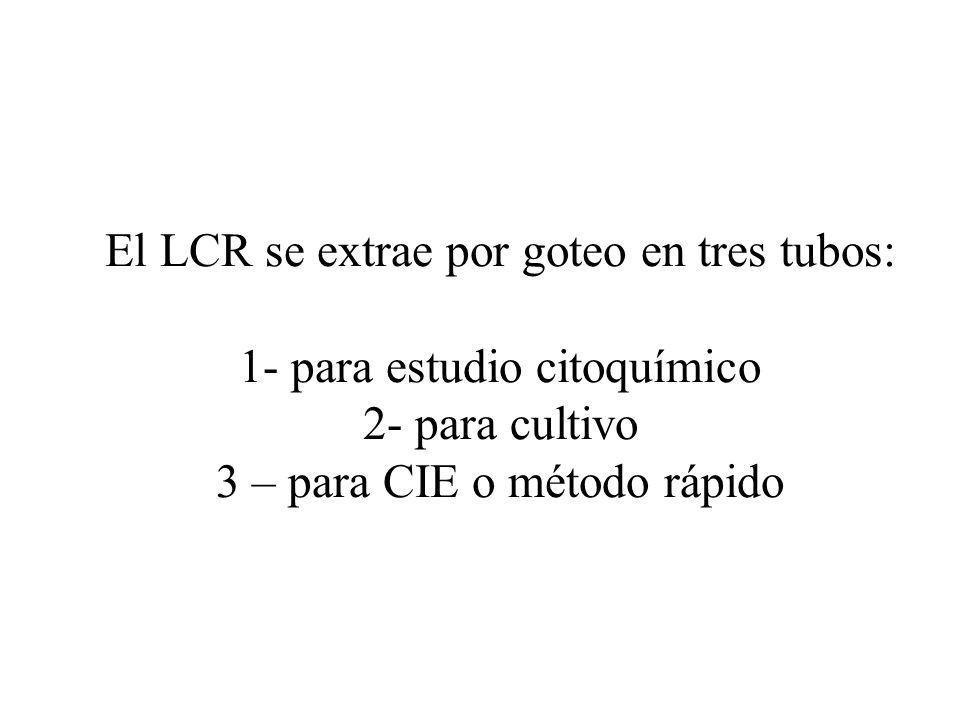 El LCR se extrae por goteo en tres tubos: 1- para estudio citoquímico 2- para cultivo 3 – para CIE o método rápido