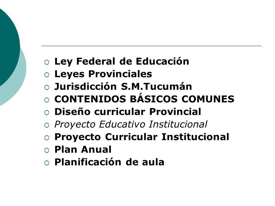 Ley Federal de Educación Leyes Provinciales Jurisdicción S.M.Tucumán CONTENIDOS BÁSICOS COMUNES Diseño curricular Provincial Proyecto Educativo Instit