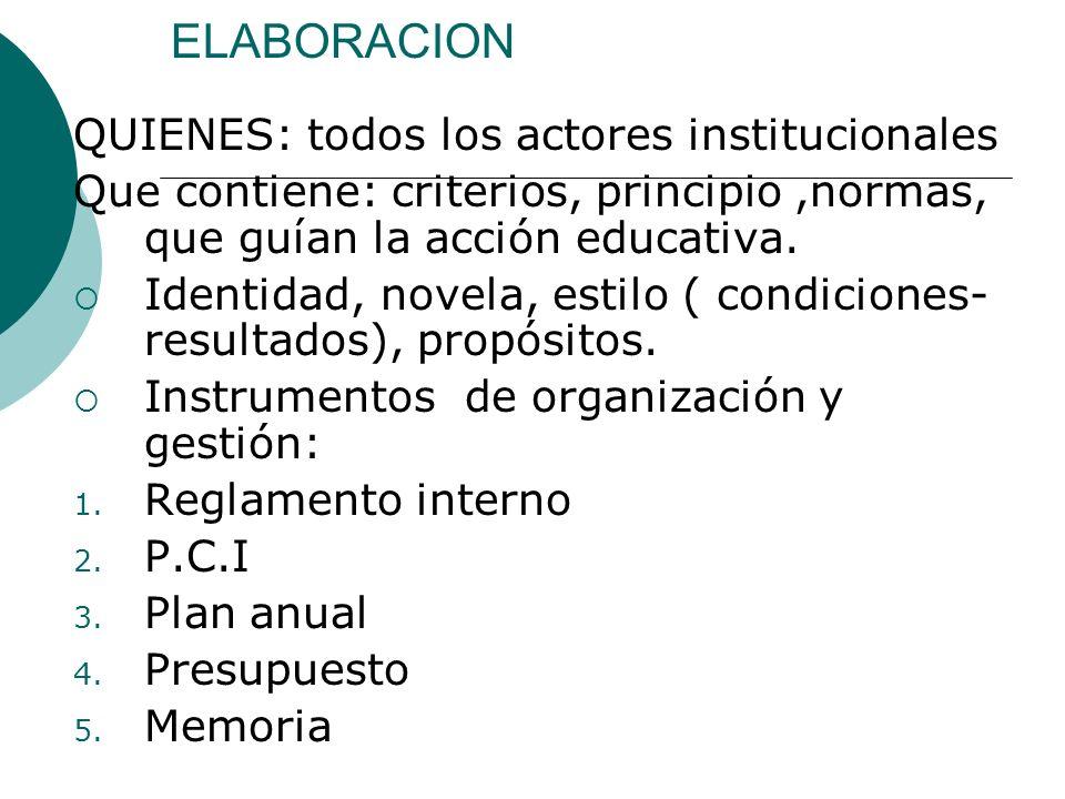 ELABORACION QUIENES: todos los actores institucionales Que contiene: criterios, principio,normas, que guían la acción educativa. Identidad, novela, es