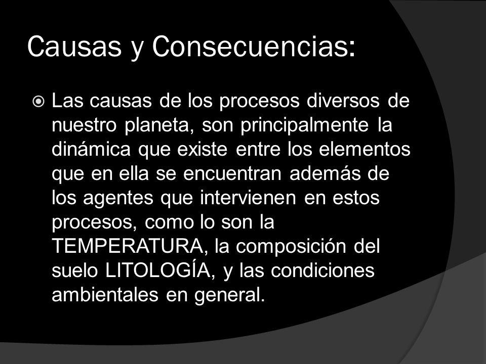 Causas y Consecuencias: Las causas de los procesos diversos de nuestro planeta, son principalmente la dinámica que existe entre los elementos que en e