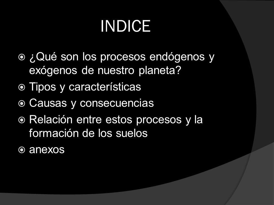 INDICE ¿Qué son los procesos endógenos y exógenos de nuestro planeta? Tipos y características Causas y consecuencias Relación entre estos procesos y l