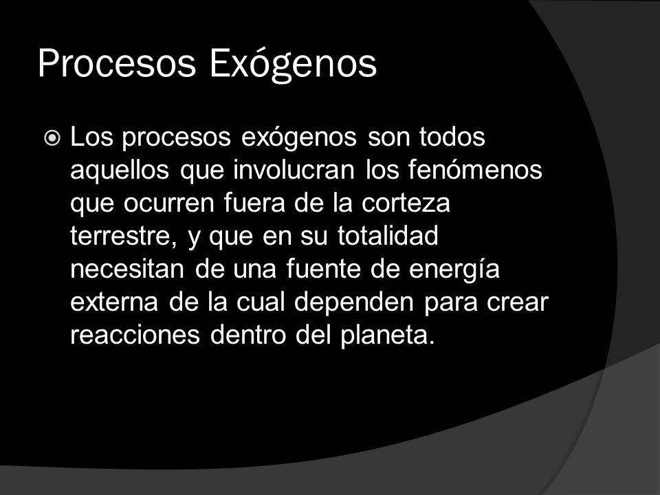 Procesos Exógenos Los procesos exógenos son todos aquellos que involucran los fenómenos que ocurren fuera de la corteza terrestre, y que en su totalid