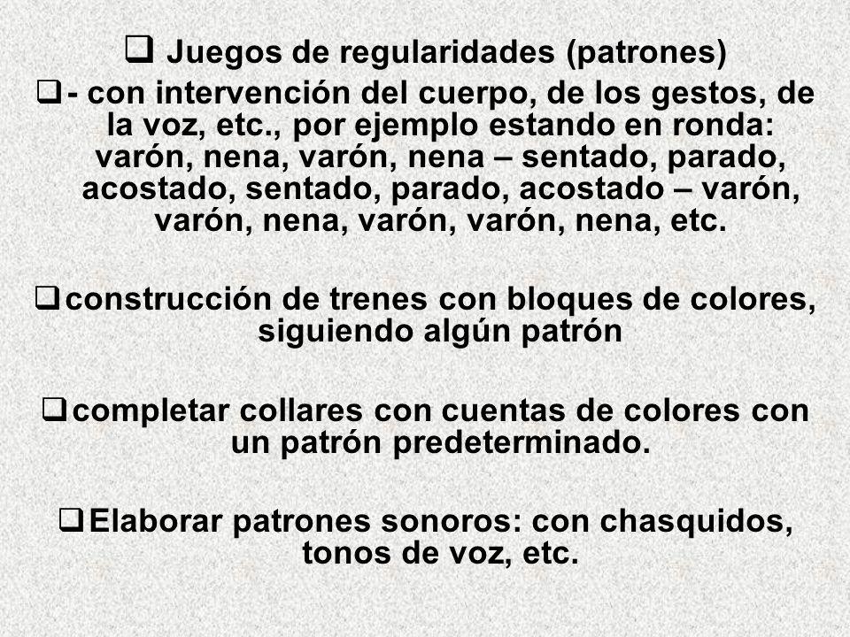 Juegos de regularidades (patrones) - con intervención del cuerpo, de los gestos, de la voz, etc., por ejemplo estando en ronda: varón, nena, varón, ne
