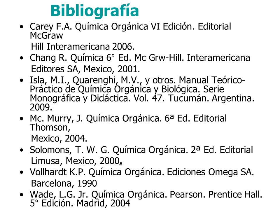 Bibliografía Carey F.A. Química Orgánica VI Edición. Editorial McGraw Hill Interamericana 2006. Chang R. Química 6° Ed. Mc Grw-Hill. Interamericana Ed