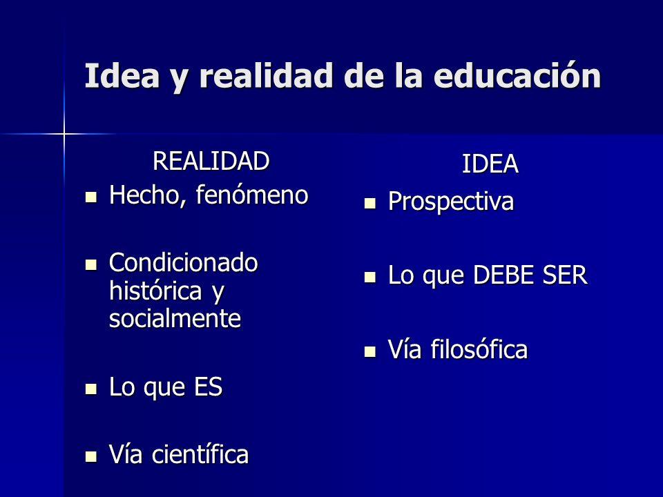 Idea y realidad de la educación REALIDAD Hecho, fenómeno Hecho, fenómeno Condicionado histórica y socialmente Condicionado histórica y socialmente Lo