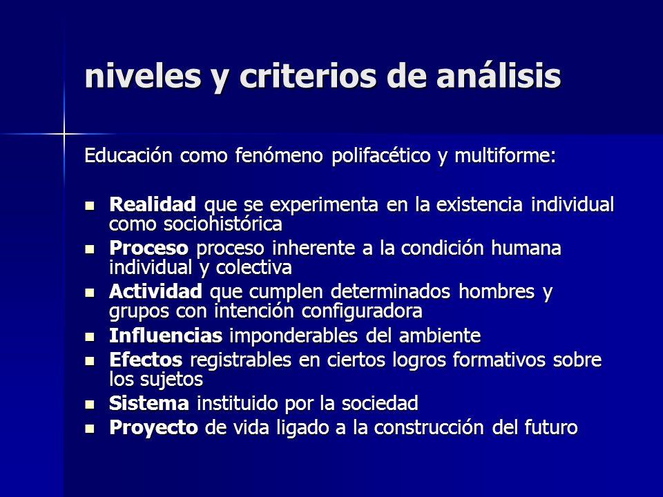 niveles y criterios de análisis Educación como fenómeno polifacético y multiforme: Realidad que se experimenta en la existencia individual como socioh