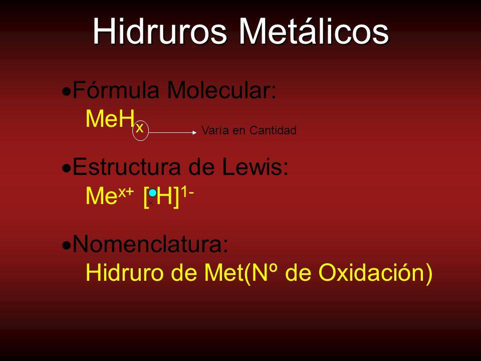 Hidruros Metálicos Fórmula Molecular: MeH x Estructura de Lewis: Me x+ [ H] 1- Nomenclatura: Hidruro de Met(Nº de Oxidación) Varía en Cantidad