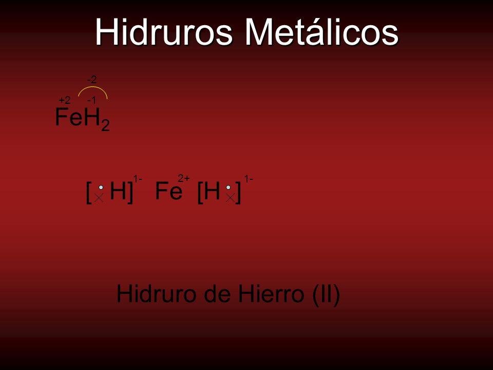 Hidruros No Metálicos Uniones Covalentes.Actúan con el menor número de oxidación.