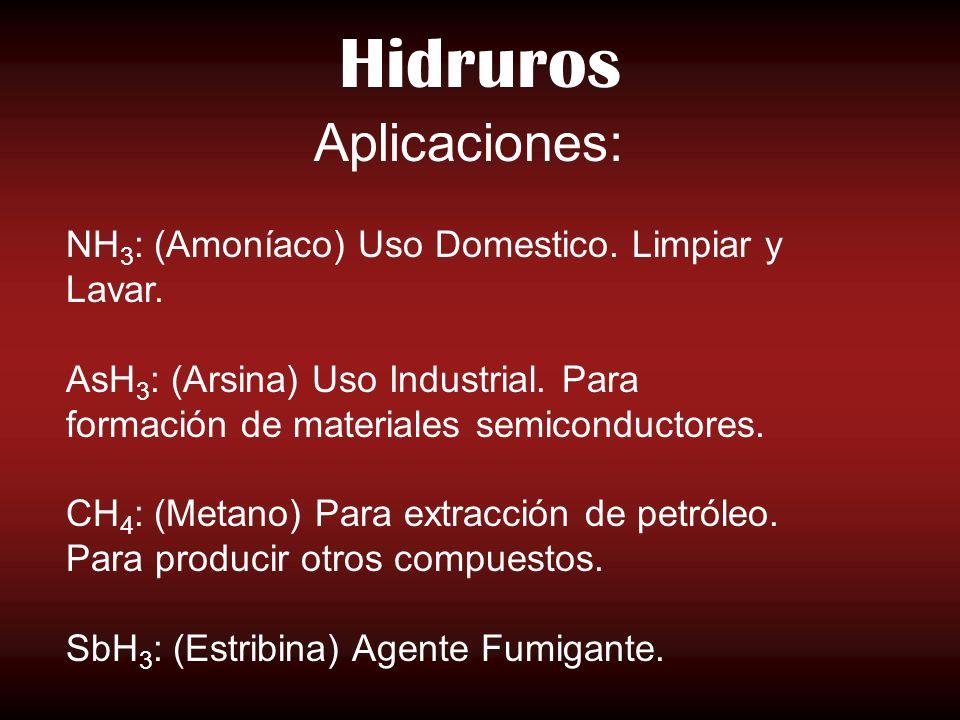 Hidruros NH 3 : (Amoníaco) Uso Domestico. Limpiar y Lavar. AsH 3 : (Arsina) Uso Industrial. Para formación de materiales semiconductores. CH 4 : (Meta