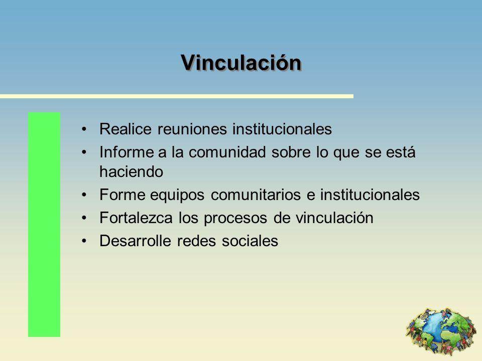 Vinculación Realice reuniones institucionales Informe a la comunidad sobre lo que se está haciendo Forme equipos comunitarios e institucionales Fortal