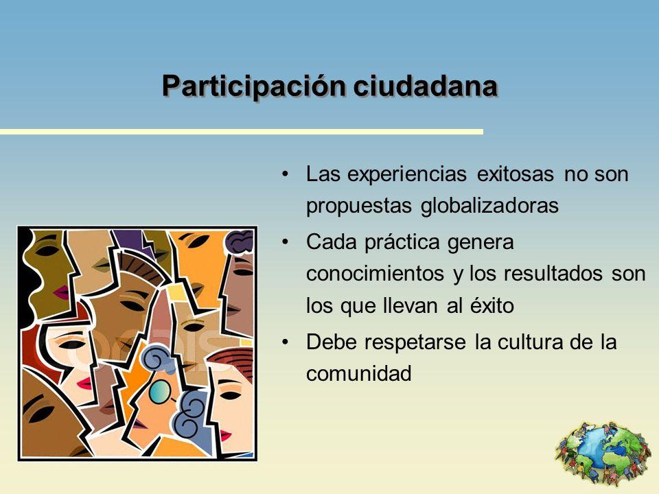 Participación ciudadana Las experiencias exitosas no son propuestas globalizadoras Cada práctica genera conocimientos y los resultados son los que lle