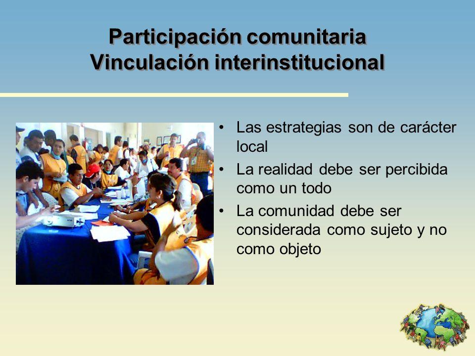 Participación comunitaria Vinculación interinstitucional Las estrategias son de carácter local La realidad debe ser percibida como un todo La comunida