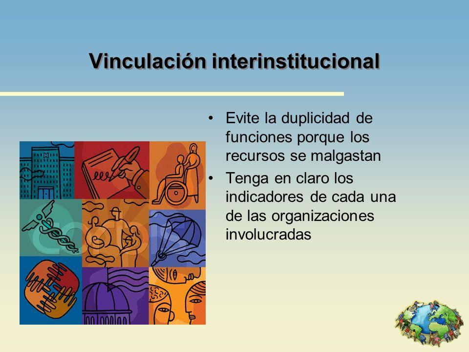 Vinculación interinstitucional Evite la duplicidad de funciones porque los recursos se malgastan Tenga en claro los indicadores de cada una de las org