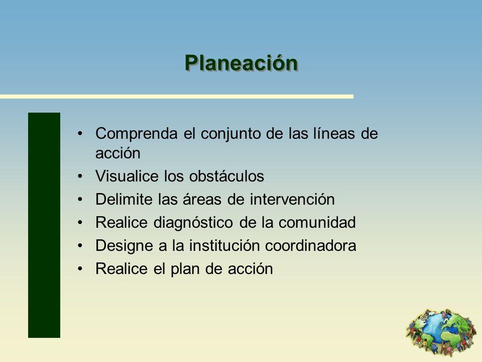 Planeación Comprenda el conjunto de las líneas de acción Visualice los obstáculos Delimite las áreas de intervención Realice diagnóstico de la comunid