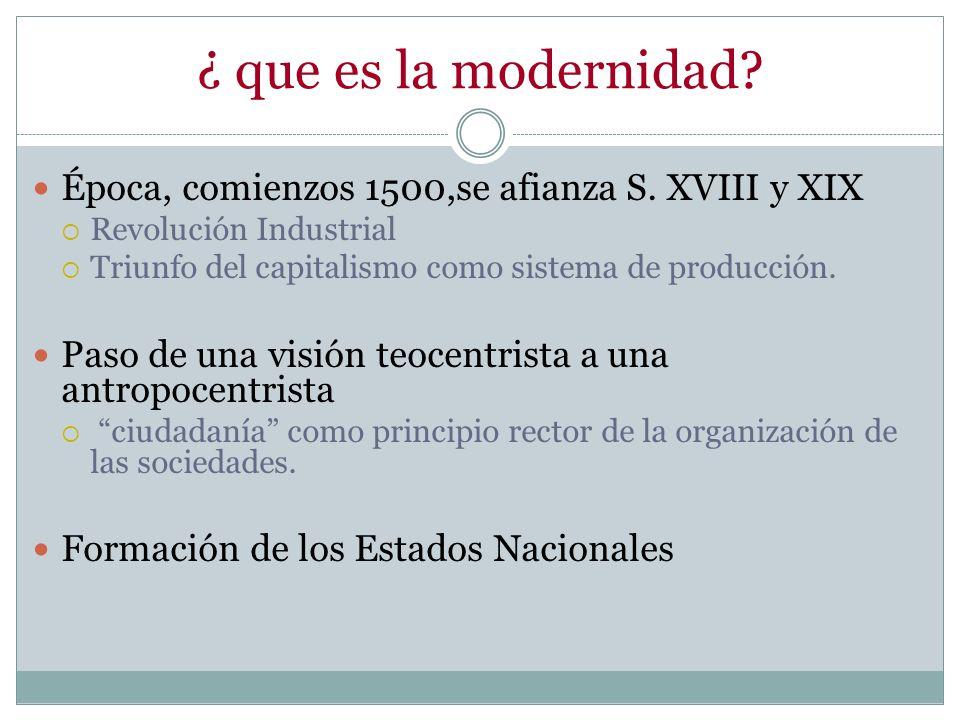 ¿ que es la modernidad? Época, comienzos 1500,se afianza S. XVIII y XIX Revolución Industrial Triunfo del capitalismo como sistema de producción. Paso