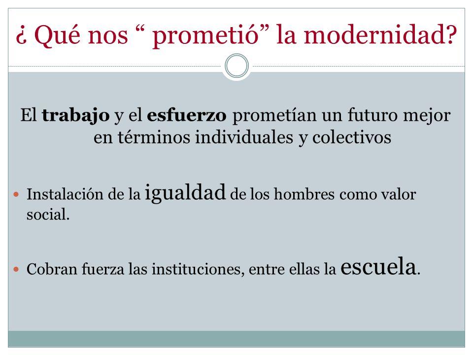 ¿ Qué nos prometió la modernidad? El trabajo y el esfuerzo prometían un futuro mejor en términos individuales y colectivos Instalación de la igualdad