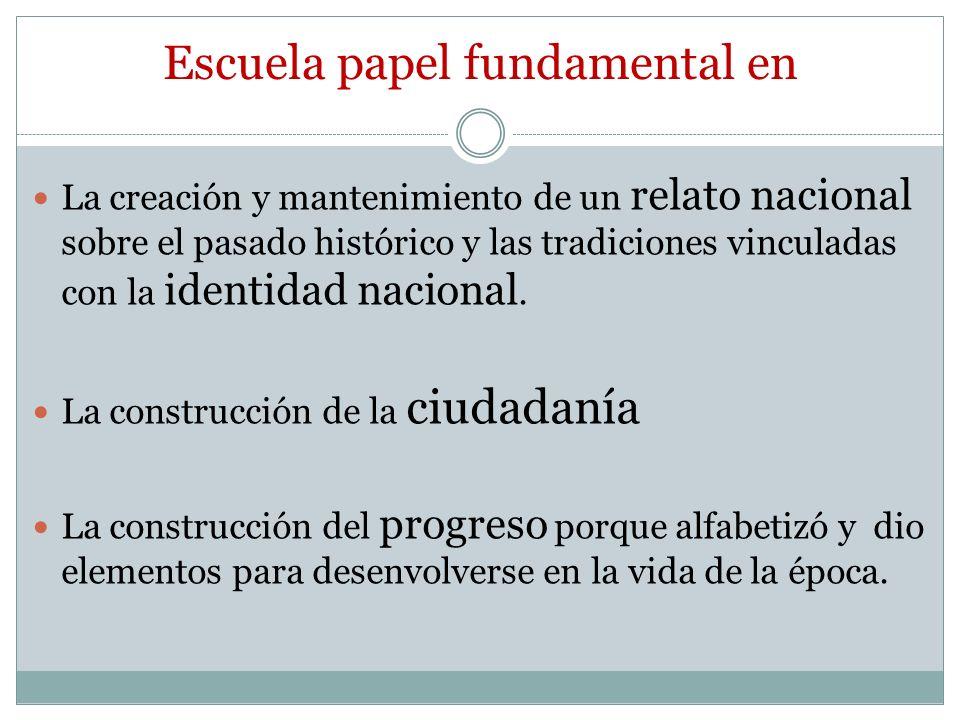 Escuela papel fundamental en La creación y mantenimiento de un relato nacional sobre el pasado histórico y las tradiciones vinculadas con la identidad