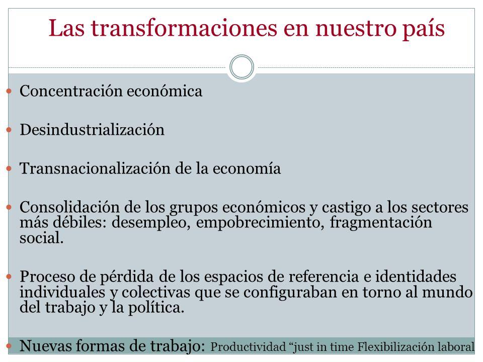 Las transformaciones en nuestro país Concentración económica Desindustrialización Transnacionalización de la economía Consolidación de los grupos econ