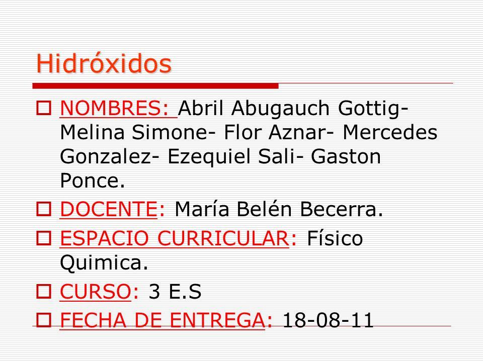 Hidróxidos NOMBRES: Abril Abugauch Gottig- Melina Simone- Flor Aznar- Mercedes Gonzalez- Ezequiel Sali- Gaston Ponce. DOCENTE: María Belén Becerra. ES