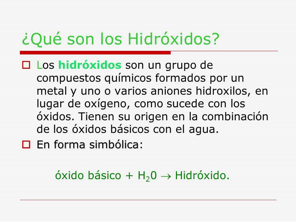 ¿Qué son los Hidróxidos? Los hidróxidos son un grupo de compuestos químicos formados por un metal y uno o varios aniones hidroxilos, en lugar de oxíge
