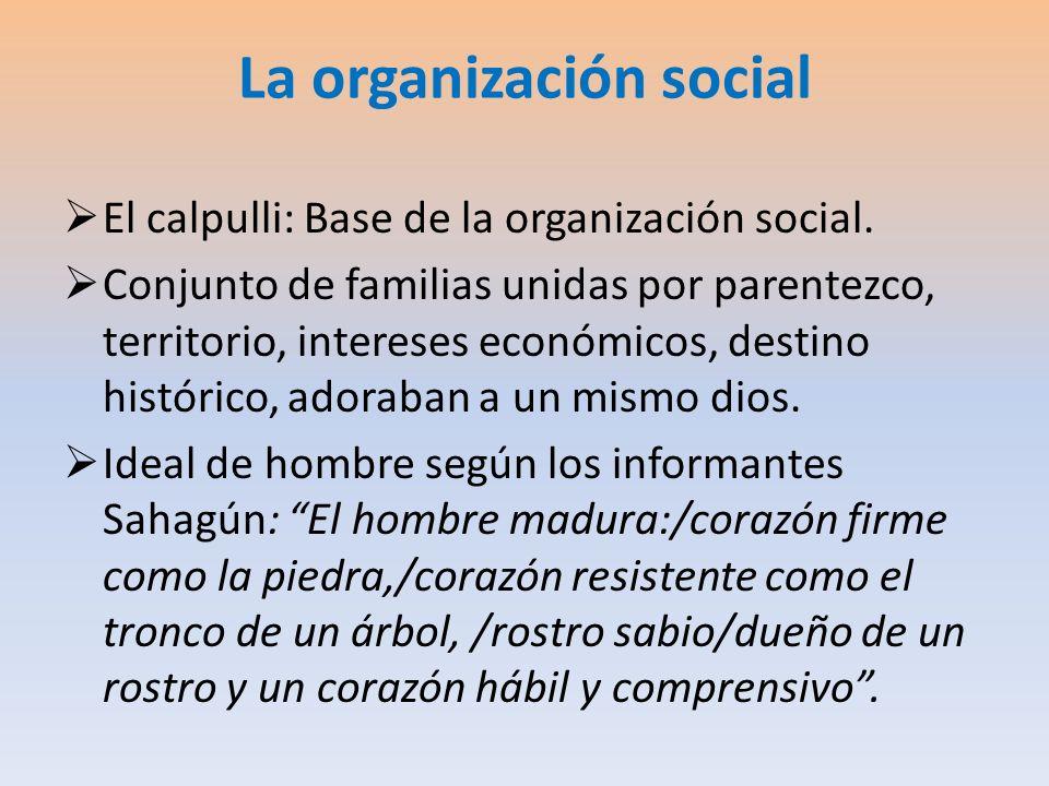 La organización social El calpulli: Base de la organización social. Conjunto de familias unidas por parentezco, territorio, intereses económicos, dest