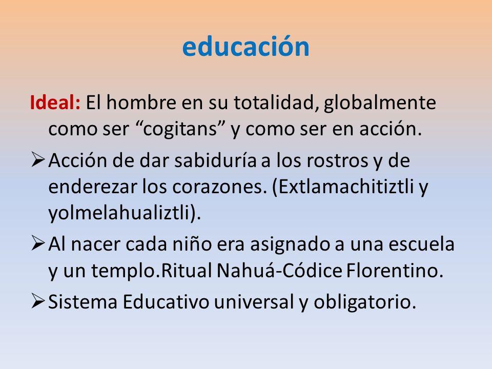 educación Ideal: El hombre en su totalidad, globalmente como ser cogitans y como ser en acción. Acción de dar sabiduría a los rostros y de enderezar l