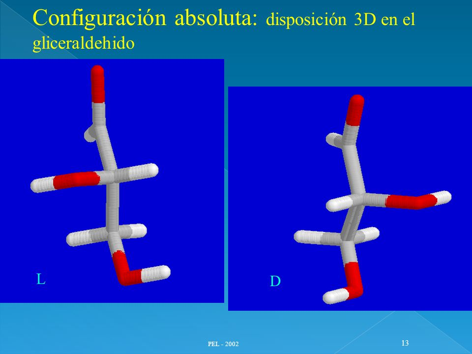PEL - 2002 13 L D Configuración absoluta: disposición 3D en el gliceraldehido