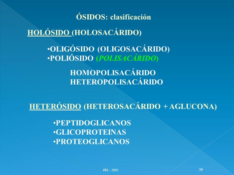 PEL - 2002 39 ÓSIDOS: clasificación HOLÓSIDO (HOLOSACÁRIDO) OLIGÓSIDO (OLIGOSACÁRIDO) POLIÓSIDO (POLISACÁRIDO) HOMOPOLISACÁRIDO HETEROPOLISACÁRIDO HET