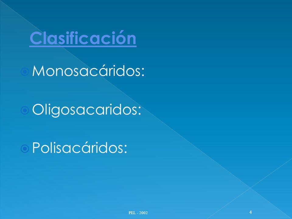 Monosacáridos: Oligosacaridos: Polisacáridos: PEL - 2002 4