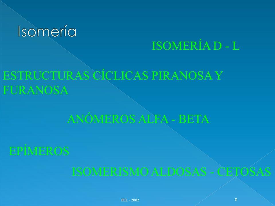 PEL - 2002 8 ISOMERÍA D - L ESTRUCTURAS CÍCLICAS PIRANOSA Y FURANOSA ANÓMEROS ALFA - BETA EPÍMEROS ISOMERISMO ALDOSAS - CETOSAS