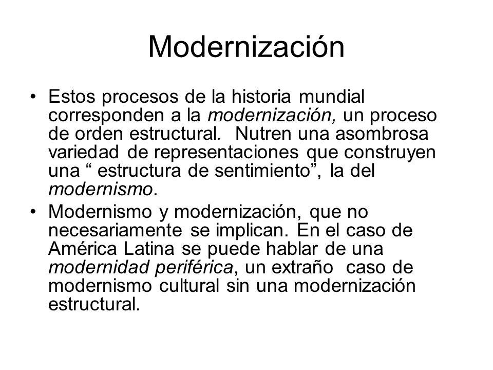 Modernización Estos procesos de la historia mundial corresponden a la modernización, un proceso de orden estructural. Nutren una asombrosa variedad de