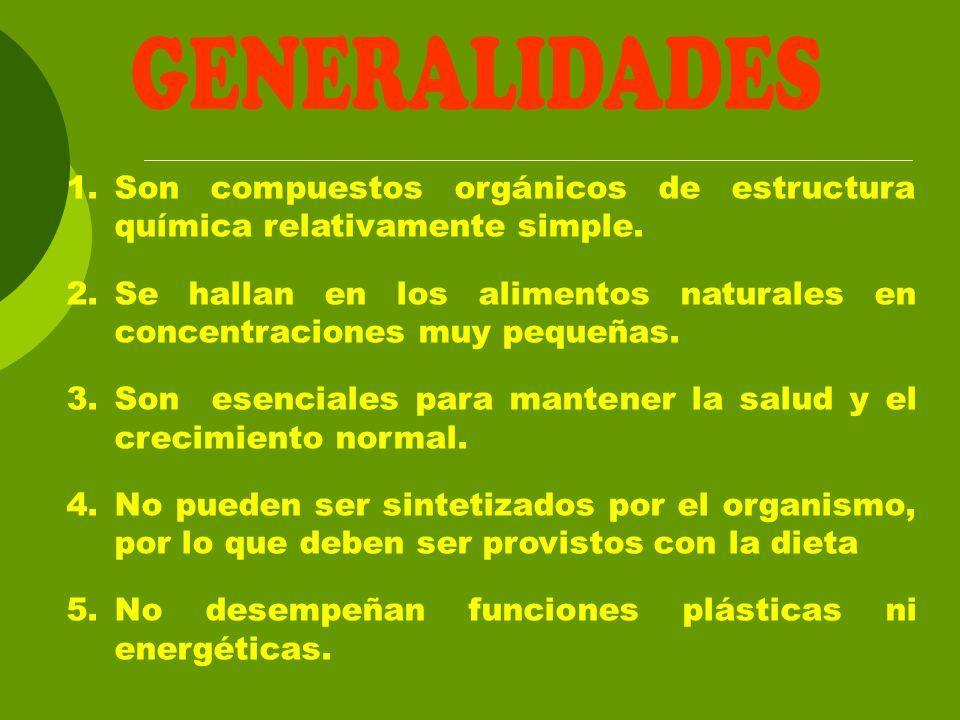 1.Son compuestos orgánicos de estructura química relativamente simple. 2.Se hallan en los alimentos naturales en concentraciones muy pequeñas. 3.Son e