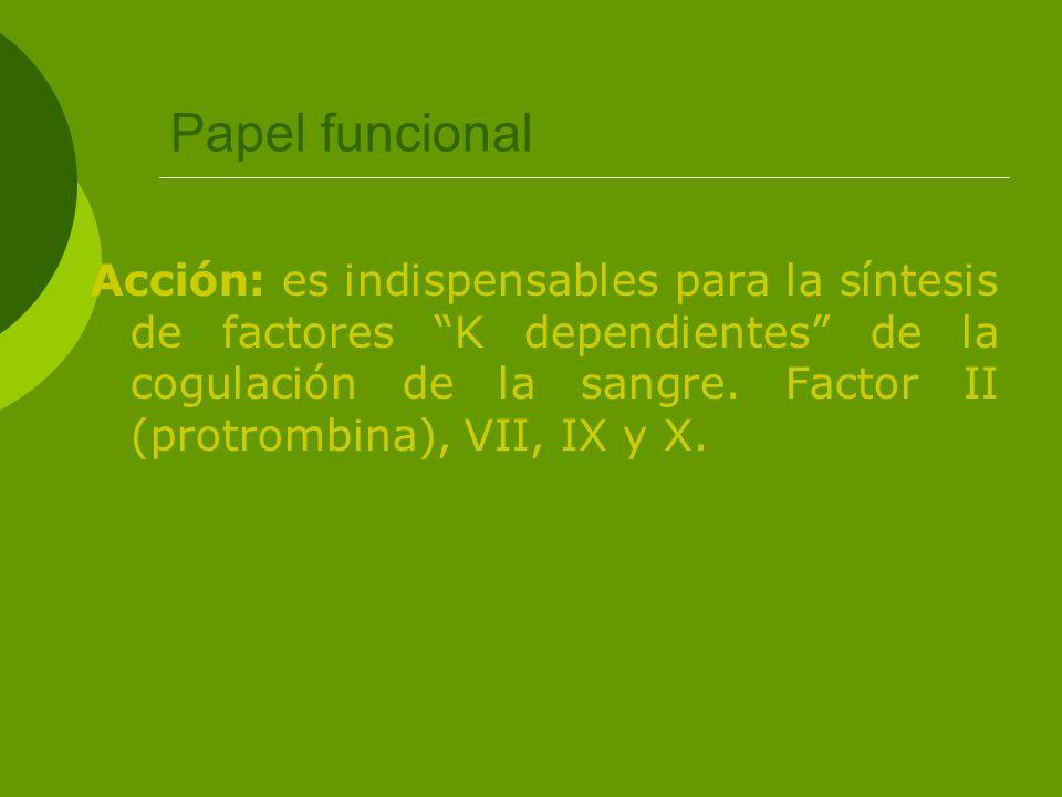 Papel funcional Acción: es indispensables para la síntesis de factores K dependientes de la cogulación de la sangre. Factor II (protrombina), VII, IX