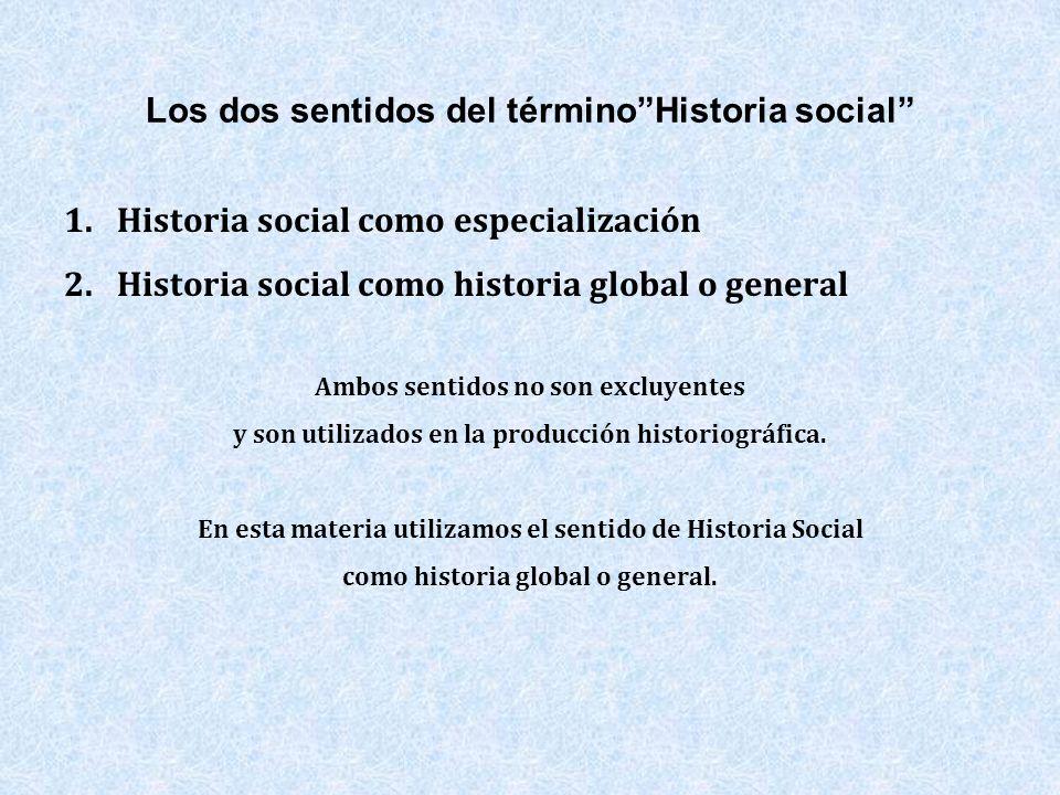 Los dos sentidos del términoHistoria social 1.Historia social como especialización 2.Historia social como historia global o general Ambos sentidos no